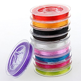 10x Rolle elastisch Faden Schmuckfaden Gummifaden 0.6mm -