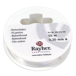 Rayher 8947200 Perlonfaden, 0,3mm ø, Reißfest 4kg,Hängelast 700g, Rolle 55m -